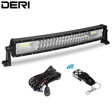 DERI Triple Row Curved LED Light Bar Offroad Led Bar Spot Flood Combo Beam Led Work Light Bar 12v 24v Car Retrofit Styling
