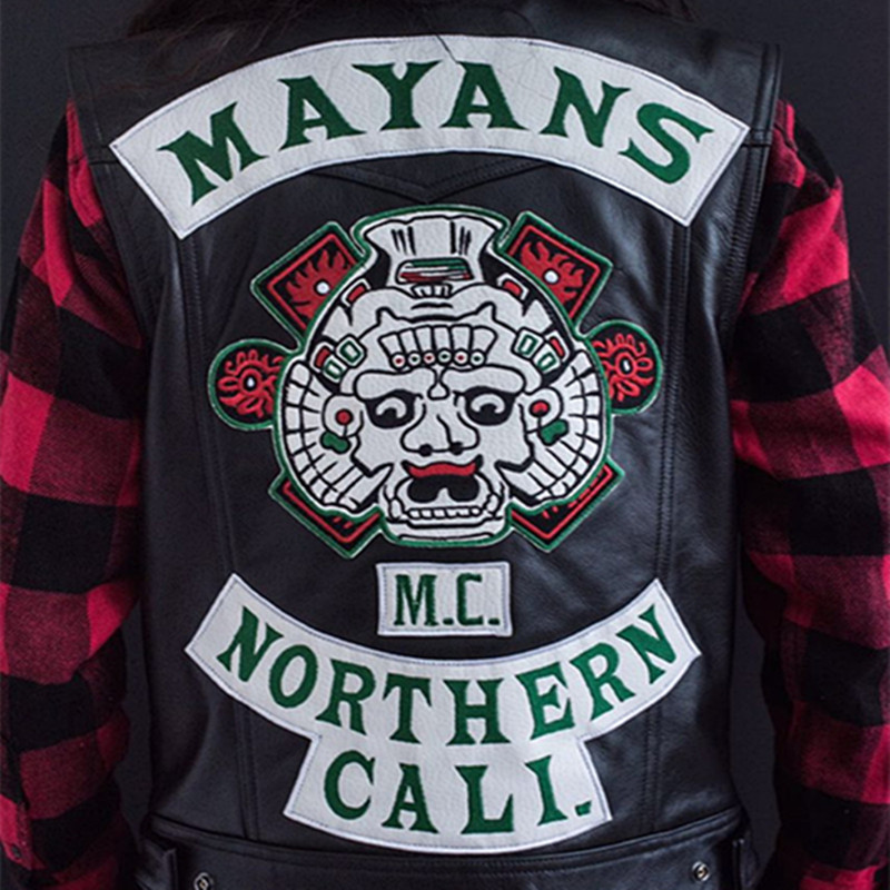 New Arrival Mayans.MC Cosplay Costume Harley Motorcycle Club Vest Jacket Embroidery Leather Vest Black Punk Coat Custom Size