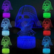 цена Touch 3D Lamp Darth Vader Black Warrior LED Bulb USB Mood Table Night Light Boys Gift Remote Multicolor Switch Crack Base онлайн в 2017 году