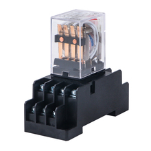 HH54P MY4NJ Electromagnetic Relays 4PDT 4NO 4NC AC 220V 110V DC 24V 12V 3A Power Relay Switch Socket Base Silver Contacts 14 Pin стоимость
