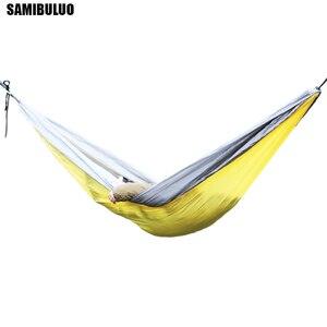 Image 3 - SAMIBULUO na świeżym powietrzu wysokiej jakości dorosłych trwałe spadochron Camping hamak z opaska na drzewo podwójne
