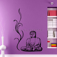 Buddha Wall Decals Meditation Yoga Pose Wall Stickers Floral Removable Vinyl Art Home Decor Living Room