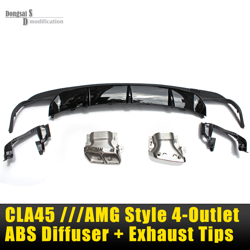 AMG Style Rear Diffuser & 4-Outlet Exhaust Tip For Mercedes CLA Class W117 2014 2015 CLA45 CLA180 CLA220 CLA250 With AMG Package