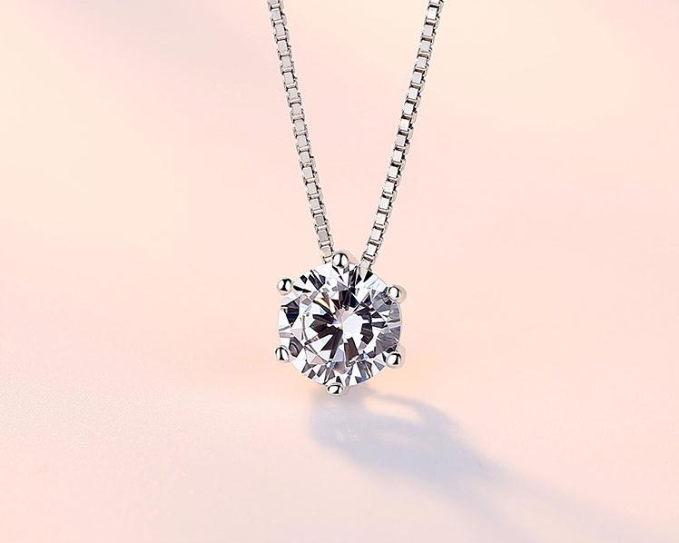 Zarif rhinestone zinciri tek zirkon 925 saf gümüş kolye kadın - Kostüm mücevherat - Fotoğraf 5