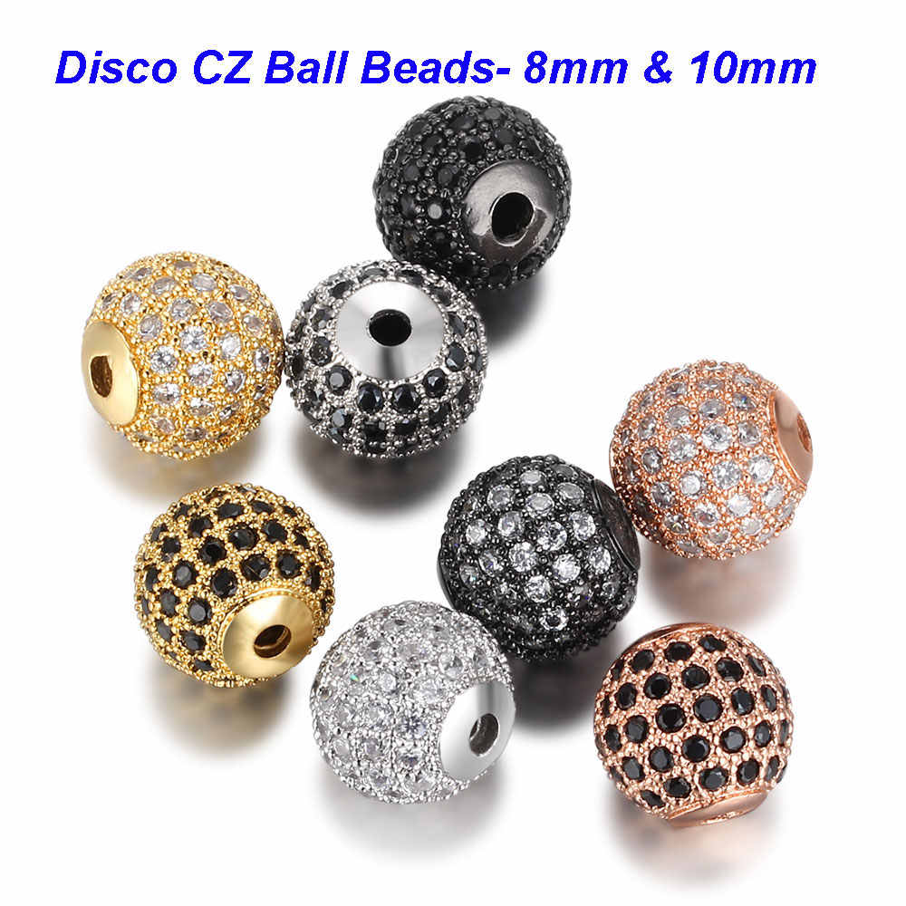 3pcs/lot Round Ball CZ Beads 8mm 10mm DIY Metal Bead Brass Micro Pave Cubic Zirconia Spacer Bead Charms Wholesale VNISTAR