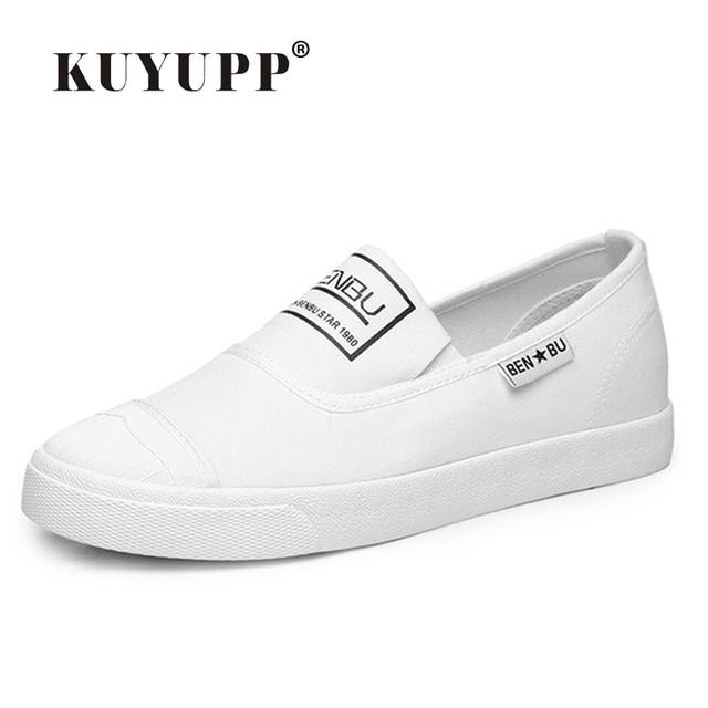 KUYUPP Estrenar Mujer Zapatos Blancos 2016 Del Verano Ocasionales Planos Antideslizantes en Los Zapatos de Lona Punta Redonda Planos de Las Mujeres Tamaño Grande 35-40 PX107