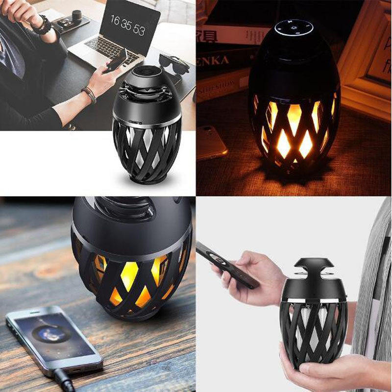 LED Flame Bluetooth Stereo Speaker with Portable Rechargeable Night Light Smart Touch Control HD Audio Enhanced Bass For Party