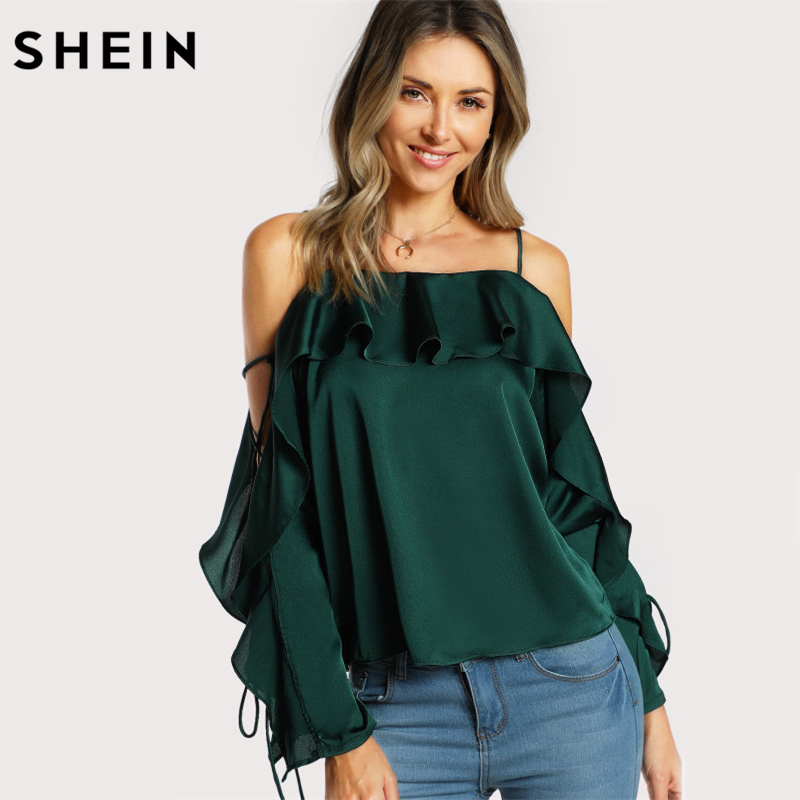 SHEIN Lace Up Silk Blouse Sleeve Flounce Top Woman Blouses 2017 Autumn Green Spaghetti Strap Ruffle Long Sleeve Party Blouse 1