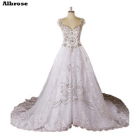 Luxury White Wedding Dress Crystal Cap Sleeve Wedding Dresses Lace Bridal Gowns Beaded Vestido De Noiva