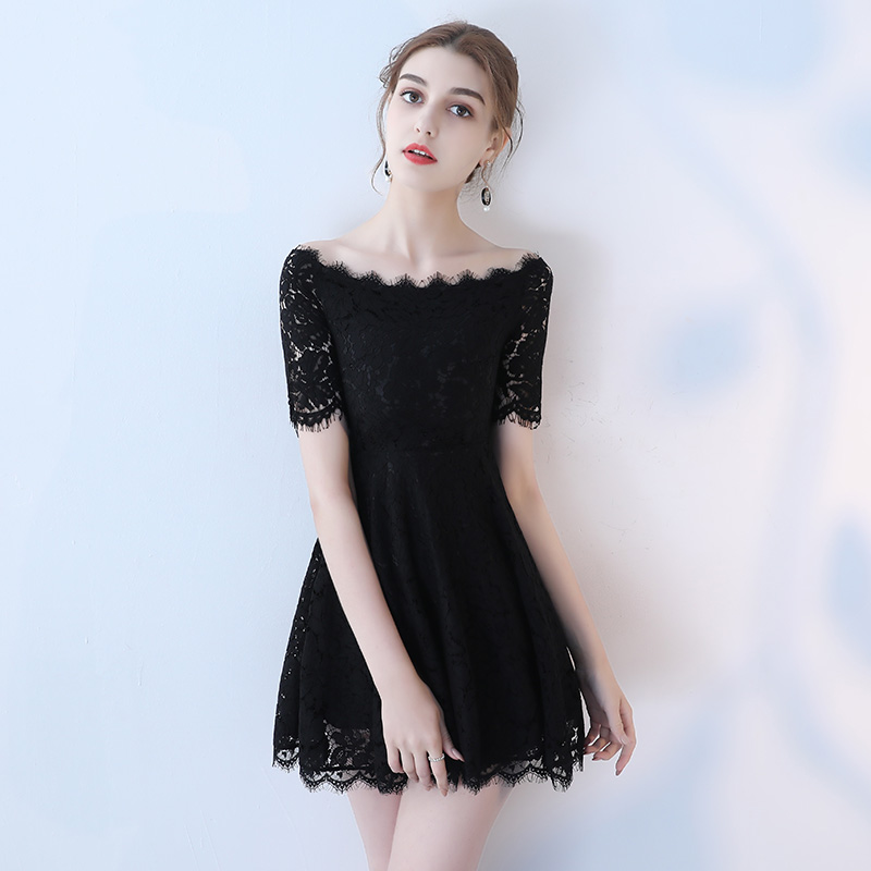 Stylish Lace Black Prom Dresses 2019 Sexy Prom Dress Short Ever Pretty Boat  Neck Zipper Ever Pretty Slim Fit Cocktail Party Gown-in Prom Dresses from  ... b49b09562
