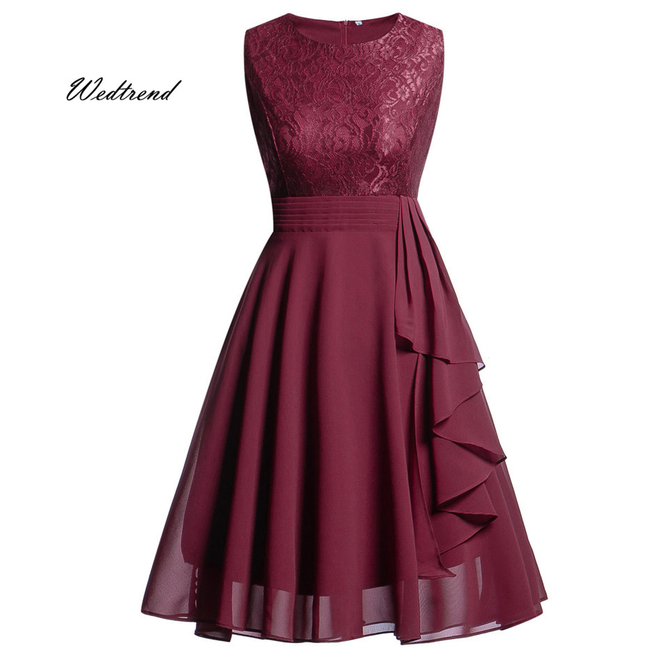 Wedtrend Summer Cocktail Dress 2019 Burgundy A Line Short Lace Chiffon Woman Homecoming Dresses vestido formatura curto cocktail dress
