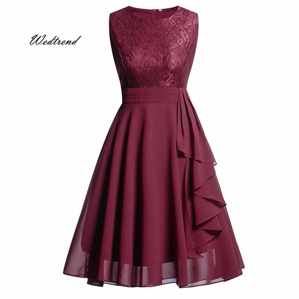 75b72d7a62 Wedtrend Summer Cocktail Dress 2019 Burgundy A Line Short Lace Chiffon  Woman Homecoming Dresses vestido formatura curto