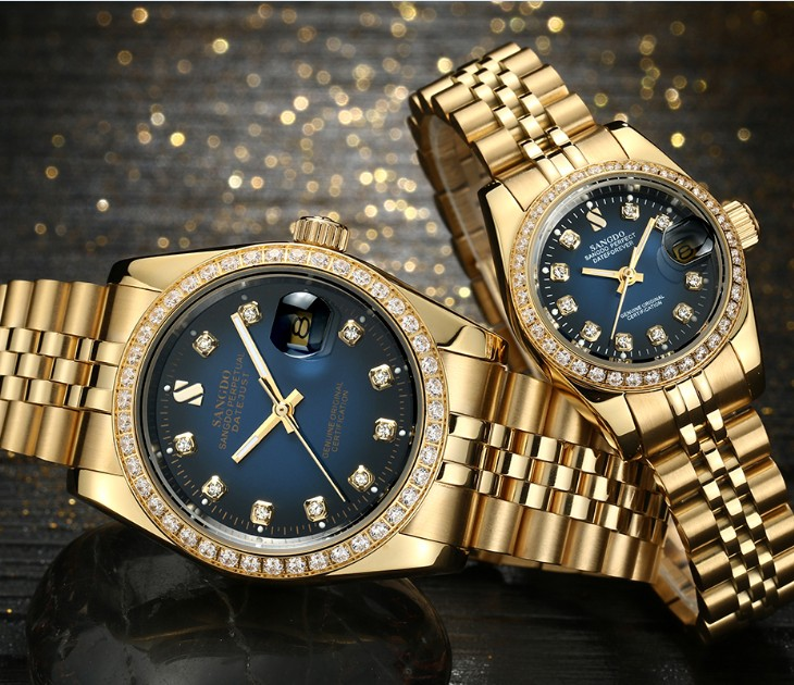 SANGDO Blue Dial Automatic Self-Wind Movement High Quality Luxury Couples Watch Plating 18KY Mechanical Watches 07S