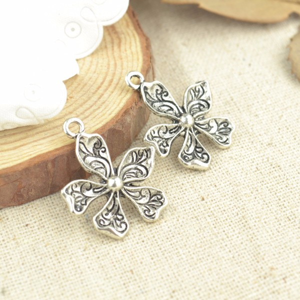 10pcs antiqued bronze color 2sided flower charms EF0562