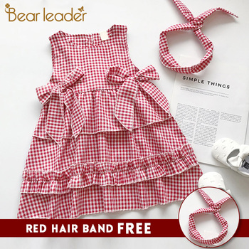 1-6 Years Old Summer Plaid Kids Princess Bow Decoration Dress With Hairband 2PCs Set Children Clothes 1