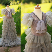 Eslieb Flower Girl Dresses for Weddings Cloud Toddler Kids First Communion Dresses Pageant Dress Prom Dress for Little Girl