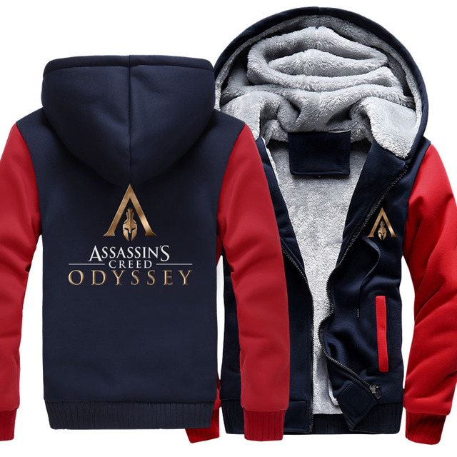 US size Men Women Game Assassin's Creed Odyssey Cosplay Hoodie Thicken Jacket Clothing Assassins Creed Coat Sweatshirts  3