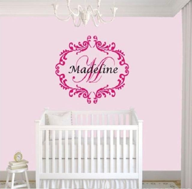 Custom name personalised damask pattern wall decal sticker nursery girls bedroom art vinyl wall stickers for