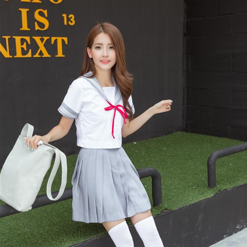 High Quality Summer Short Sleeved Middle High School Girl's Korean Uniform XJ4801