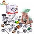 LittLove 25 Unids Kids House Juguetes de Cocina de Cocina de Acero Inoxidable Utensilios de cocina de Los Niños Juego de Imaginación Cocina Playset-Figuras Plata