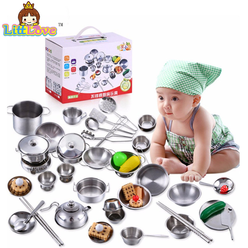 Littlove 25pcs stainless steel kids house kitchen toys cooking cookware children pretend play kitchen playset - silver figures