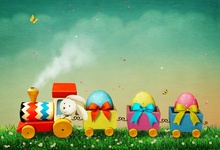 Laeacco Easter Day Cartoon Train Color Eggs Photographic Backgrounds Grassland Baby Scene Photography For Photo Studio Backdrops