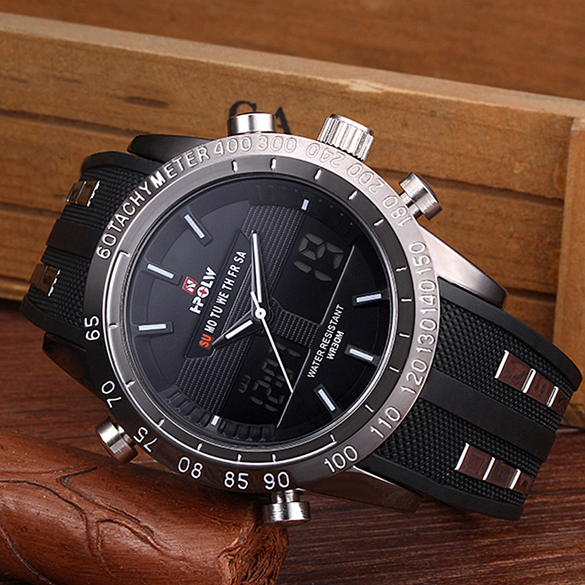 HPOLW Men Watches Diving Digital Waterproof Military Relogio Masculino LED Sport Montre