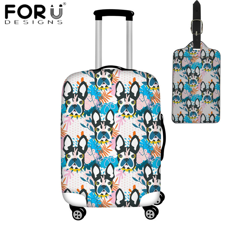 FORUDESIGNS 2019 Fashion Suitcase Protective Covers Funny Bulldog Pattern PU Leather Luggage Tag Luggage Cover Dust Rain Covers