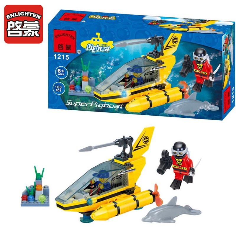 1215 ENLIGHTEN City Series Dolphin Observation Submarine Model Building Blocks Action Figure Toys For Children Christmas Gift