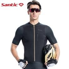Santic Men Cycling Jersey Short Sleeve Pro Fit Imported Italian Fabric MTB Jersey Road Bike Short Downhill  Jersey Mujer 2019 недорого