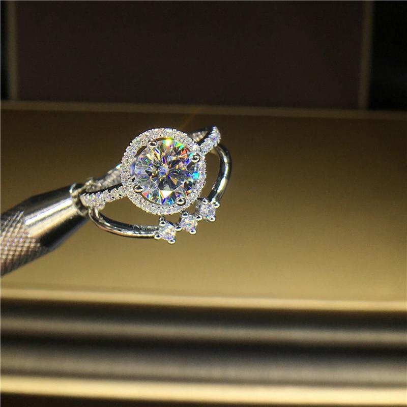 100% 18K 750Au الذهب المويسانتي خاتم الماس D اللون VVS مع شهادة الوطني مو 00105-في خواتم من الإكسسوارات والجواهر على  مجموعة 3
