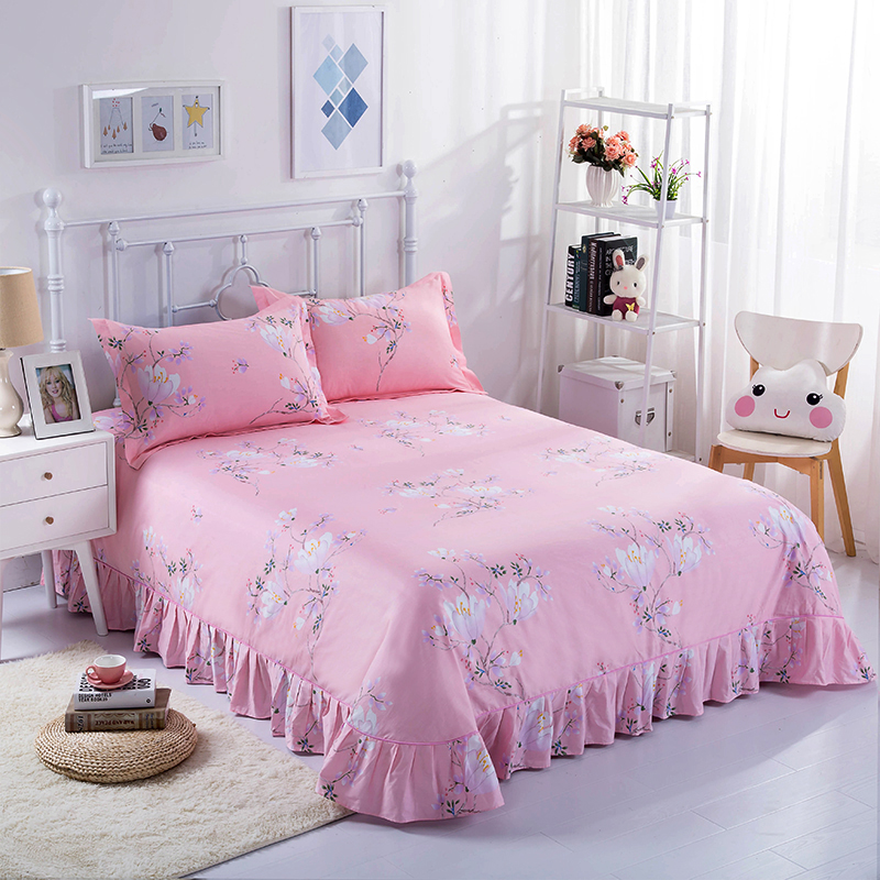 24 Colors Optional Modern Comfortable Soft Flowers Printed Pattern Cotton Four Sets Quilt Cover + Bed Sheet + Pillowcase