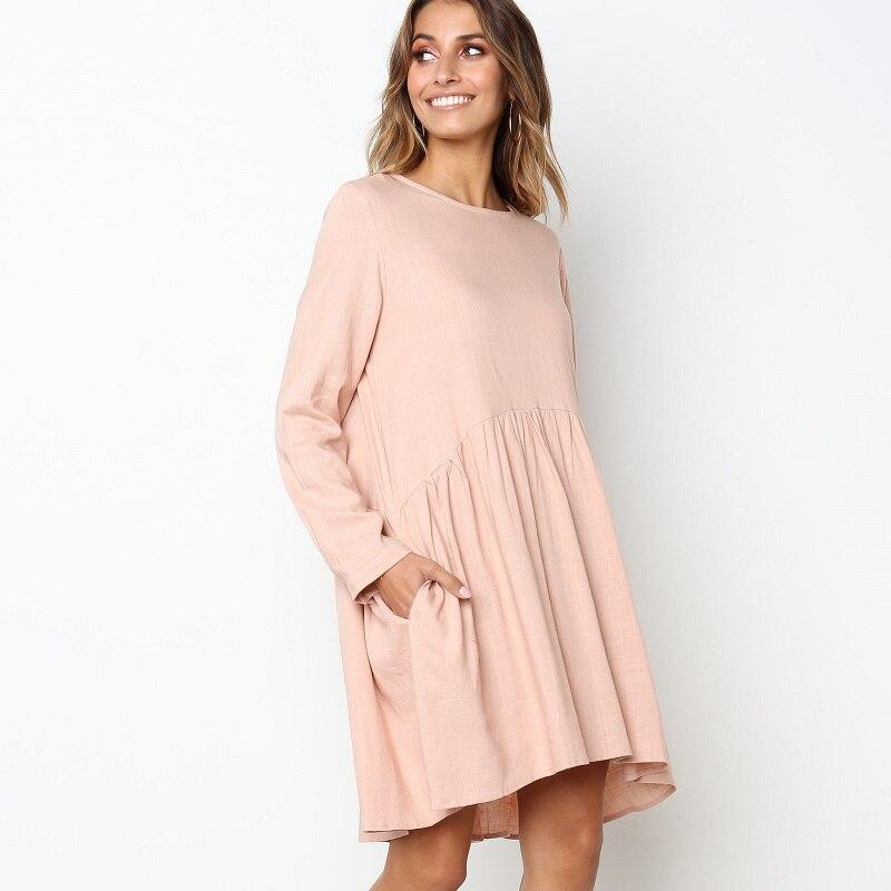 ef31e5f86ef039 Goede Koop ELSVIOS Vrouwen Mode Pocket Losse Jurk 2018 Herfst Winter lange  mouwen jurken Dames Sexy Solid O nek knop mini jurk Goedkoop.