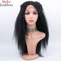 24 inch Dài Afro Kinky Thẳng Tóc Giả Màu Đen Tổng Hợp Lace Front Wig Nhiệt Ren Phía Trước Tóc Giả Cho Phụ Nữ Mokogoddess