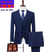 new arrival fashion super large Men Suits Bridegroom Groom Wedding Casual Mens Plaid Suit plus size MLXL2XL3XL4XL5XL6XL7XL8XL9XL