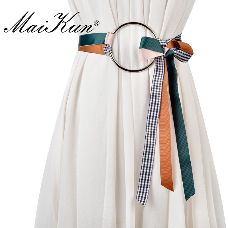 Maikun Self Tie   Belts   for Women   Belt   Silvery Big Ring Circle Decor Cummerbund Female   Belt
