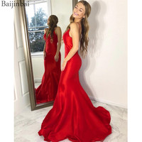 Baijinbai Sexy Red Spaghetti Straps Mermaid Evening Prom Gowns Satin Party Vestidos Women's Formal Dresses Floor Length V Back