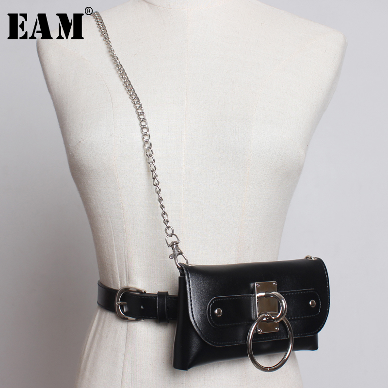 [EAM] 2019 New Spring Summer Pu Leather Buckle Split Joint Chain Mini-bag Personality Belt Women Fashion Tide All-match JW254