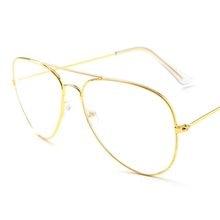 cbddb8e70 Aviação óculos de Sol do Quadro do Ouro Feminino Clássico Óculos de  Mulheres Homens óculos Lente Óptica Clara Transparente Estil.
