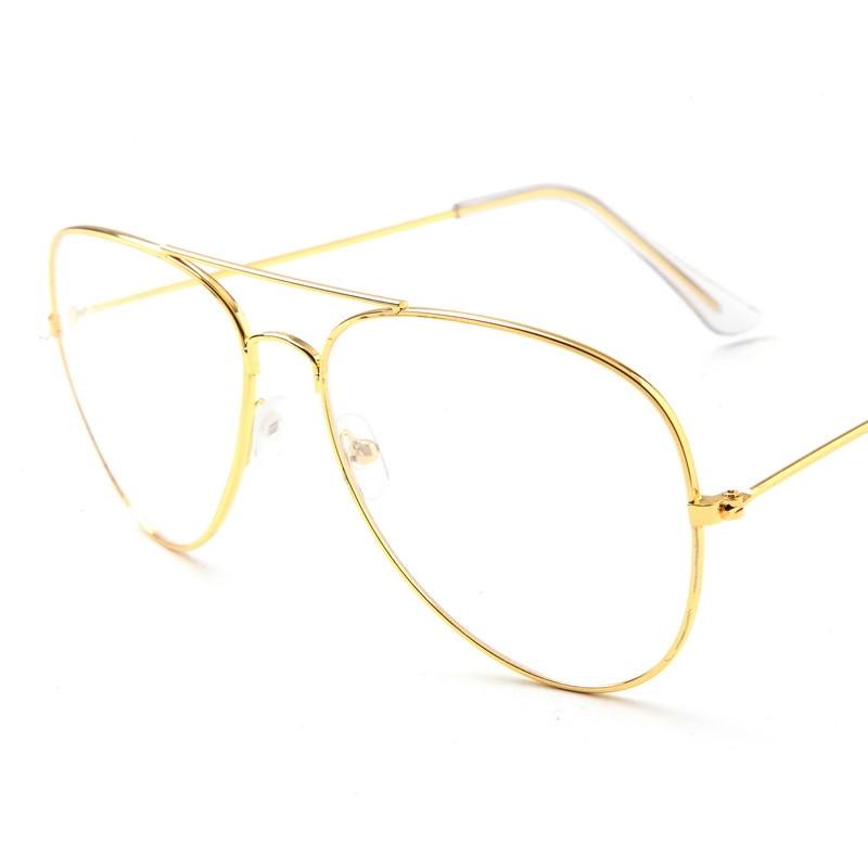 Gafas de sol con montura dorada de aviación Clásicos para mujer Lentes transparentes Óptico Mujeres Hombres gafas estilo piloto