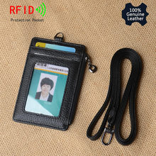 цена на Bifold ID Badge Holder With Lanyard Genuine Leather Card Wallet 5 Card & Slot 1 Side Rfid Blocking Zipper Pocket Slim Card Case