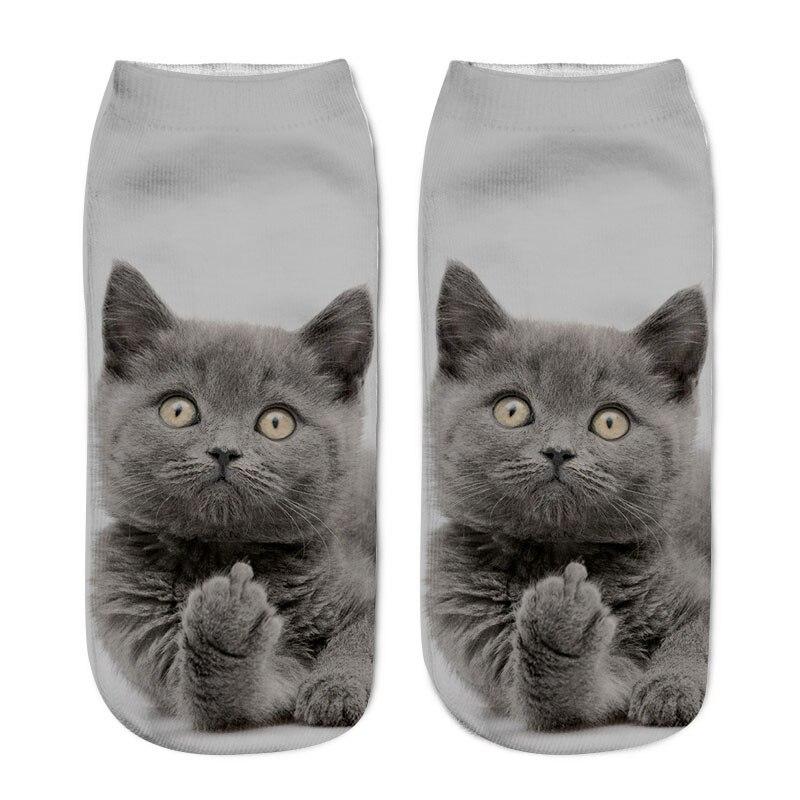SLMVIAN New 3D Printing Women Socks Brand Sock Fashion Unisex Socks Cat Pattern Meias Feminina Funny Low Ankle HOT HTB14n