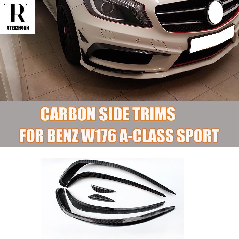W176 въглеродни влакна предна броня странични канали сплитер спойлер за Mercedes Benz W176 A180 A200 A260 A45 AMG Sport броня 13 - 15