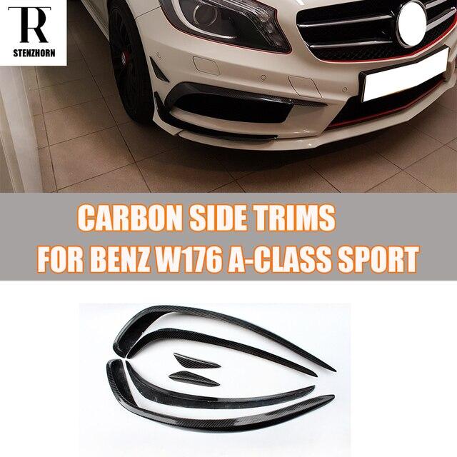 W176 Carbon Fiber Front Bumper Side Canards Splitter Spoiler for Mercedes Benz W176 A180 A200 A260 A45 AMG Sport Bumper 13 - 15