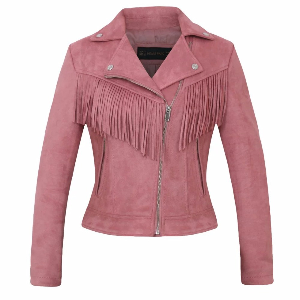 Women's clothing casual pink brown faux leather fashion ladies tassel coat Women high quality suede leather jacket biker jacket