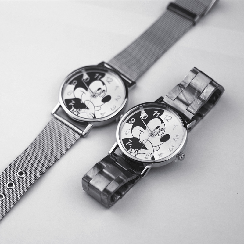 Montre Femme Silver Stainless Steel Women Watch Band cartoon Mickey mouse Fashion women Quartz watch Student Sport Watch in Women 39 s Watches from Watches