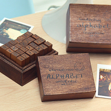 Retro Wooden Box Letter Seal Trend Wood Rubber Stamp Diary Stamp Stationery Set gsfy 40pcs set happy life diary girl cute cartoon mounted rubber stamp wooden box