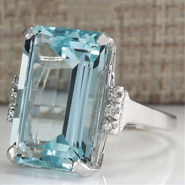 Big Blue CZ Cubic Zircon Stone Silver Rings for Women Fashion Jewelry Valentines
