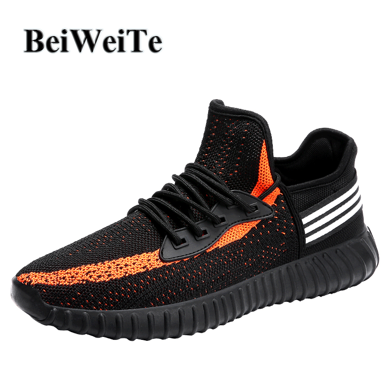 BeiWeiTe Mens Summer Yeezy 350 Style Running Shoes Breathable Jogging Sport Sneakers Men Anti-skid Tourist Walking Outdoor Shoes