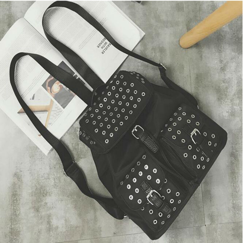New Arrival Korean Style Oxford Cloth Rivet Female Backpack Fashionable Preppy Style Backpack Large Capacity Student